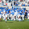 Air Force Falcons defensive back James Jones (4) leads the team into Falcon Stadium on Saturday, Nov. 4, 2017. The Black Knights lead 14-0 at half time.