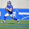 Air Force Falcons wide receiver Andrew Smith (10) runs the ball wide against the Army West Point Black Knights at Falcon Stadium on Saturday, Nov. 4, 2017. The Black Knights lead 14-0 at half time.