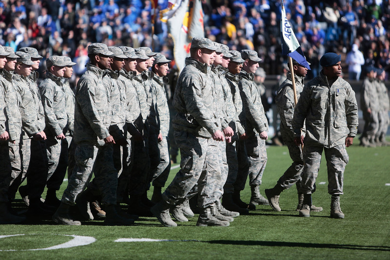 An Air Force cadet squadron leader turns while leading his Squadron onto the field during the cadet march-on before the game between the Air Force Falcons and the Army West Point Black Knights at Falcon Stadium on Saturday, November 4, 2017.