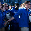 Air Force cadets hold hands while singing of the Academy's Alma Mater after losing to the Army West Point Black Knights 21-0 at Falcon Stadium on Saturday, Nov. 4, 2017.
