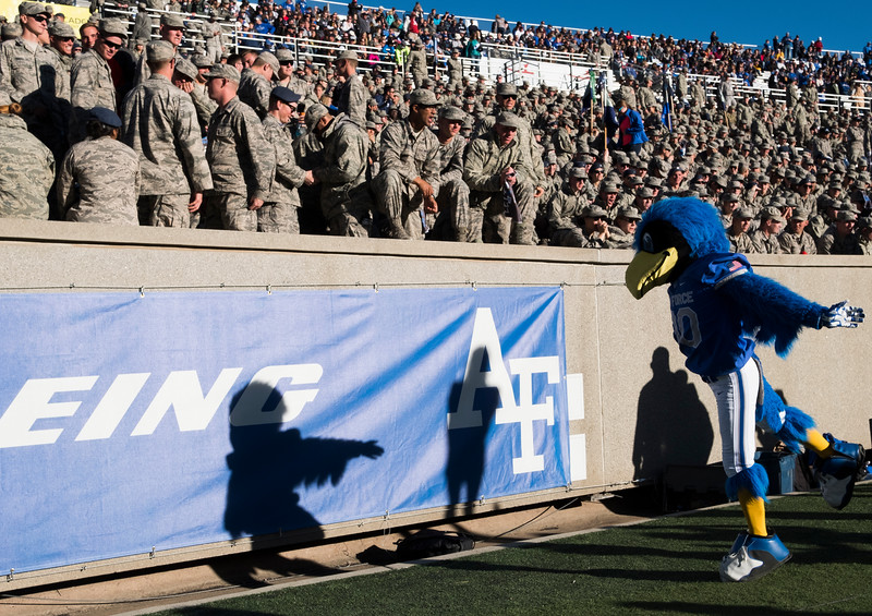 "Air Force Falcons mascot ""The Bird"" performs before the air force cadet section at Falcon Stadium on Saturday, Nov. 4, 2017."