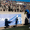 """Air Force Falcons mascot """"The Bird"""" performs before the air force cadet section at Falcon Stadium on Saturday, Nov. 4, 2017."""