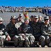 Cadet Erin Cope, center, wears the remains of a piñata meant to represent Army West Point, before the Air Force Falcons take on the Army West Point Black Knights at Falcon Stadium on Saturday, Nov. 4, 2017. The Black Knights defeated the Falcons 21-0.