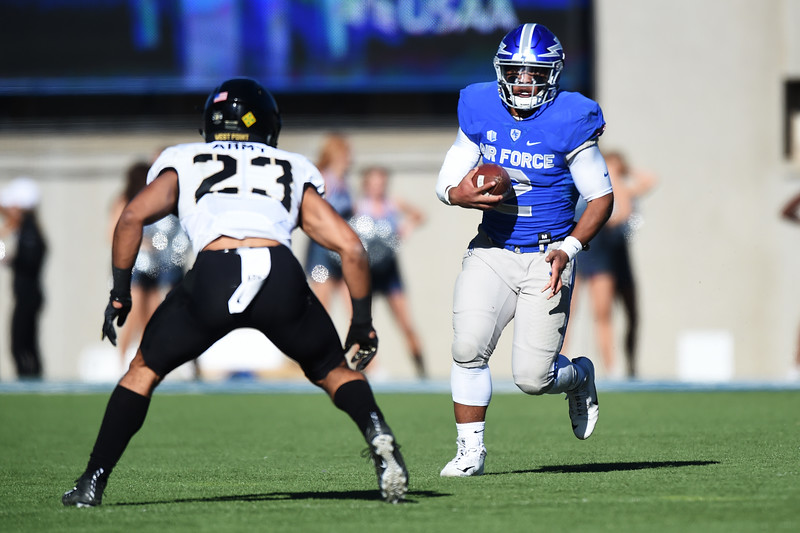Air Force Falcons take on the Army West Point Black Knights at Falcon Stadium on Saturday, Nov. 4, 2017. The Black Knights lead 14-0 at half time.