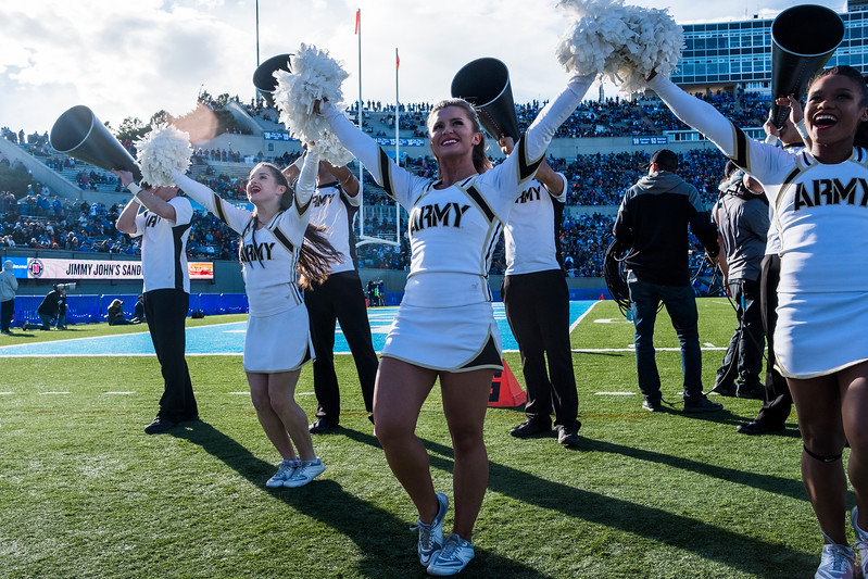 Army West Point cheerleaders encourage the Army crowd at Falcon Stadium on Saturday, Nov. 4, 2017. The West Point Black Knights defeated the Air Force Academy Falcons 21-0.
