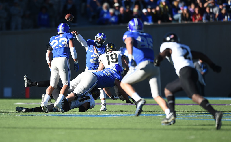 Air Force Falcons quarterback Arion Worthman (2) throws a pass for a first down at Falcon Stadium on Saturday, Nov. 4, 2017. The Falcons lost to the Army West Point Black Knights 21-0.