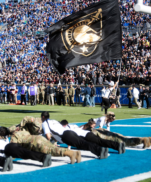 Army West Point Black Knights take the lead with a first quarter touchdown and several army members do push ups in the end zone at Falcon Stadium on Saturday, Nov. 4, 2017. The Black Knights lead 14-0 at half time.