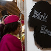 Erika Rios and Emma Rios, 7, look at funny crafted signs at the Black Forest Arts and Crafts Guild fall boutique at the Black Forest Community Hub, Sunday, November 5, 2017.
