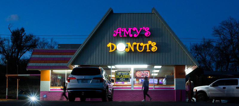 People visit Amy's Donuts for evening snacks on Sunday, November 5, 2017.