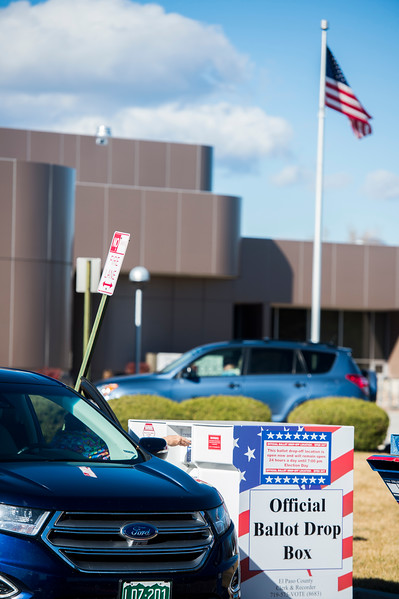 Early voters in the Colorado Springs election drop off their ballots at 24/7 drop points, including at the East Library, on Monday, November 6, 2017.