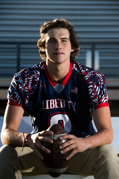 Trevor Halverson, quarterback for Liberty High School, is the Peak Performer of the Week after throwing four touchdown passes in the teams final game against Cheyenne Mountain. Photographed on Monday, November 6, 2017.