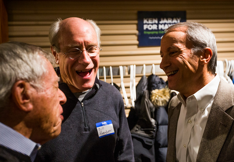 Ken Jaray, right, laughs with Bill Hornbostel as Howard Morrison tells a joke before the election results are announced at Jaray's election watch party on Tuesday, November 7, 2017. Jaray won the election for mayor of Manitou Springs.