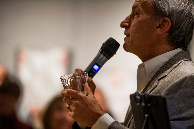 Ken Jaray proposes a toast after his victory speech at his mayoral race watch party in the Manitou Arts Center on Tuesday, November 7, 2017. Jaray won the mayor's seat over incumbent Nicole Nicoletta.