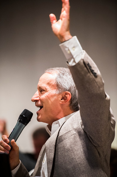 Ken Jaray gives a speech thanking everyone for their help in electing him mayor of Manitou Springs and for their involvement in the community at his watch party in the Manitou Arts Center on Tuesday, November 7, 2017.