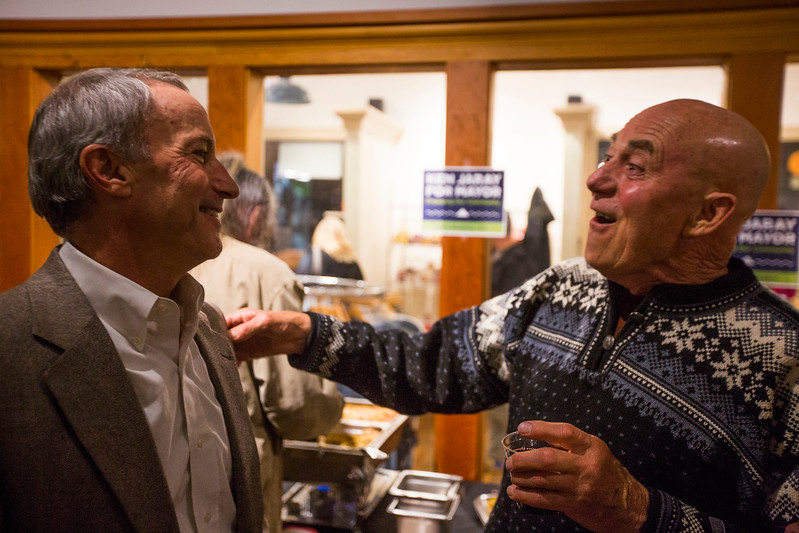 "Ken Jaray jokes with Al Foster after Jaray's victory in the race for mayor of Manitou Springs on Tuesday, November 7, 2017. ""I've known him for over 30 years and he has always been very active in the community,"" Foster said."
