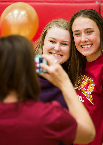 Jillian McGann and Mara Abernethy pose for a picture after Abernethy's signing ceremony in the Coronado High School Gym on Wednesday, November 8, 2017. Abernethy signed a letter of intent to play volleyball at the University of Denver.
