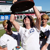 Air Academy Kadets midfielder Ryan Self (15) raises the state trophy over his head at Dick's Sporting Goods Field in Denver, Colo. on Saturday, Nov. 11, 2017. The Kadets  defeated the Centaurus Warriors 1-0 in overtime with a header by Self to become the Colorado 4A state champions.
