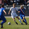 Air Academy Kadets forward Luke Louthan (5) fights Centaurus Warriors defender Max Vali (2) for the ball at Dick's Sporting Goods Field in Denver, Colo. on Saturday, Nov. 11, 2017. The Kadets defeated the Warriors 1-0 to become the Colorado 4A state champions.