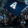 Fans of the The Air Academy Kadets wave a large team flag after the Kadets defeated the Centaurus Warriors 1-0 in overtime at Dick's Sporting Goods Field in Denver, Colo. on Saturday, Nov. 11, 2017. The Kadets are the Colorado 4A state champions.