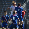 Air Academy Kadets forward Thaddaeus Dewing (4) watches to see his header go high over the goal at Dick's Sporting Goods Field in Denver, Colo. on Saturday, Nov. 11, 2017. The Kadets defeated the Centaurus Warriors 1-0 in overtime and are the Colorado 4A state champions.