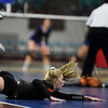 Lewis-Palmer Rangers Taylor Buckley (1) tries to dive and rescue a ball heading out at the Denver Coliseum on Saturday, November 11, 2017. The Rangers defeated the Valor Christian Eagles 3-0 to clinch the state championship.<br /> <br /> (The Gazette, Nadav Soroker)