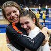 Lewis-Palmer Rangers captain Jadie DeLange (7) and libero Gianna Bartalo (17) hug after winning the state championship at the Denver Coliseum on Saturday, November 11, 2017. The Rangers defeated the Valor Christian Eagles 3-0 after a 35-33 third set.<br /> <br /> (The Gazette, Nadav Soroker)