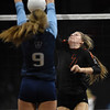 Lewis-Palmer Rangers Jadie DeLange (7) spikes the ball at the Denver Coliseum on Saturday, November 11, 2017. The Rangers defeated the Valor Christian Eagles 3-0 to clinch the state championship.<br /> <br /> (The Gazette, Nadav Soroker)