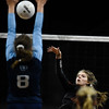 Lewis-Palmer Rangers Jadie DeLange (7) spikes a ball past defenders at the Denver Coliseum on Saturday, November 11, 2017. The Rangers defeated the Valor Christian Eagles 3-0 to clinch the state championship.<br /> <br /> (The Gazette, Nadav Soroker)