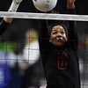 Lewis-Palmer Rangers Trinity Jackson (6) blocks the ball at the Denver Coliseum on Saturday, November 11, 2017. The Rangers defeated the Valor Christian Eagles 3-0 to clinch the state championship.<br /> <br /> (The Gazette, Nadav Soroker)