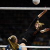 Lewis-Palmer Rangers Adelaide Feel (9) smacks the ball over the net at the Denver Coliseum on Saturday, November 11, 2017. The Rangers defeated the Valor Christian Eagles 3-0 to clinch the state championship.<br /> <br /> (The Gazette, Nadav Soroker)
