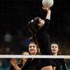 Lewis-Palmer Rangers McKenna Sciacca (5) sets the ball for a teammate at the Denver Coliseum on Saturday, November 11, 2017. The Rangers defeated the Valor Christian Eagles 3-0 to clinch the state championship.<br /> <br /> (The Gazette, Nadav Soroker)