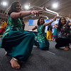 """Noopur Naik, 18, Neha Kollikara, 18, and Nethra Vishwaroopan, 18, mimic bows and arrows in the ending pose of their dance during a rehearsal for """"Pyaar... Expressions of Love"""" at the Fellowship Bible Church on Sunday, November 12, 2017. The performance is part of the local Indian communities annual Diwali celebrations and also a fundraiser, this year for the Court Appointed Special Advocates.<br /> <br /> (The Gazette, Nadav Soroker)"""