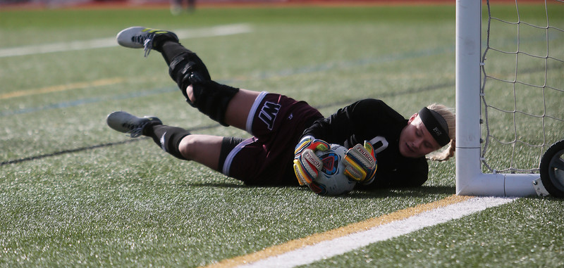 West Texas A&M Lady Buffs keeper Courtney Dippel (0) saves the ball at Mountain Lion Stadium in Colorado Springs, Colo. on Sunday, November 12, 2017. The Mountain Lions won 1-0 to continue in the NCAA Division II soccer championship, their next opponent is the Colorado School of Mines.<br /> <br /> (The Gazette, Nadav Soroker)