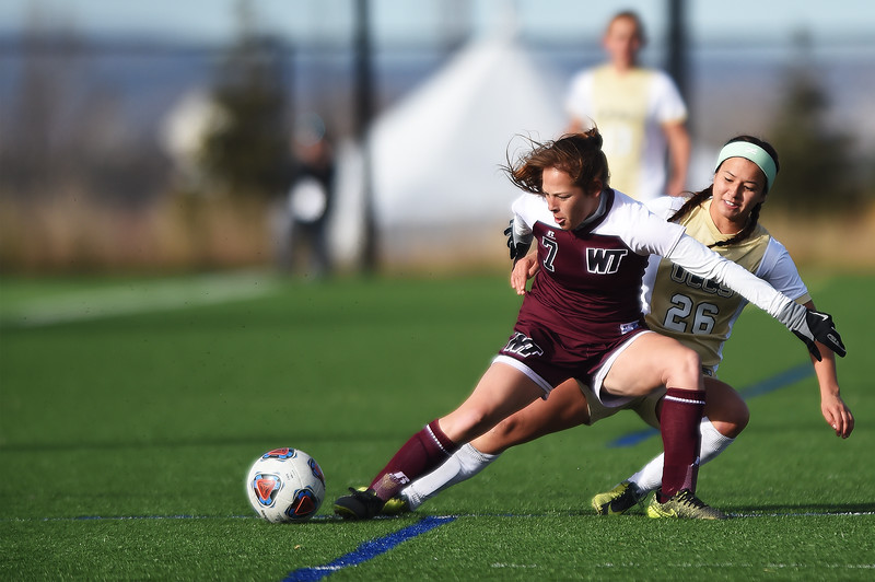 West Texas A&M Lady Buffs defender Makenzie Mendez (7) and UCCS Mountain Lions midfielder Hanna Parade (26) fight for the ball before both go down at Mountain Lion Stadium in Colorado Springs, Colo. on Sunday, November 12, 2017. The Mountain Lions won 1-0 to continue in the NCAA Division II soccer championship, their next opponent is the Colorado School of Mines.<br /> <br /> (The Gazette, Nadav Soroker)