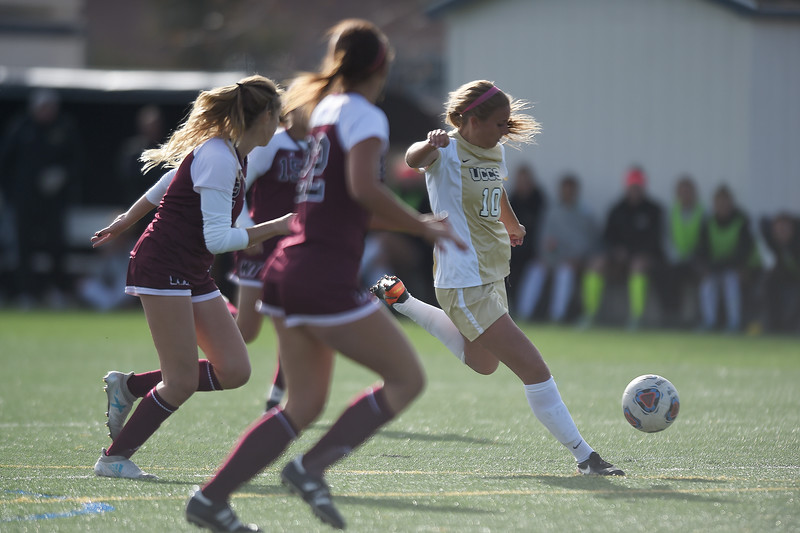 UCCS Mountain Lions midfielder Tarah Patterson (10) lines up to plant the ball in the back corner of the West Texas A&M Lady Buffs' goal at Mountain Lion Stadium in Colorado Springs, Colo. on Sunday, November 12, 2017. The Mountain Lions won 1-0 to continue in the NCAA Division II soccer championship, their next opponent is the Colorado School of Mines.<br /> <br /> <br /> (The Gazette, Nadav Soroker)