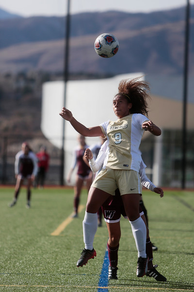 UCCS Mountain Lions forward Chanisse Hendrix (9) heads the ball at Mountain Lion Stadium in Colorado Springs, Colo. on Sunday, November 12, 2017. The Mountain Lions won 1-0 to continue in the NCAA Division II soccer championship, their next opponent is the Colorado School of Mines.<br /> <br /> (The Gazette, Nadav Soroker)