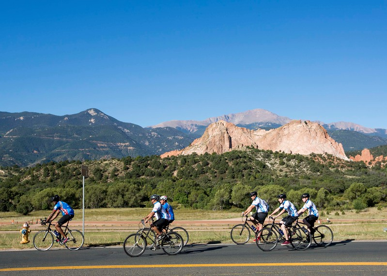 Veterans and supporters ride past the Garden of the Gods on a Wounded Warrior Project Soldier Ride through Colorado Springs, Colo. on Friday, Sept. 15, 2017. The riders traveled through town to Penrose Hospital and then to the Fallen Fire Fighters Memorial.<br /> <br /> (The Gazette, Nadav Soroker)