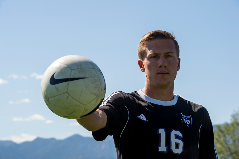 Tristan Widic, Mesa Ridge senior, is the Peak Performer for this week after a 5 goal, 1 assist soccer game. Widic was photographed at Mesa Ridge High School on Monday, Sept. 18, 2017.<br /> <br /> (The Gazette, Nadav Soroker)