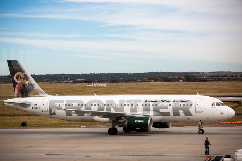A Frontier Airlines flight to San Diego taxis to the runway after an announcement of new flights at Colorado Springs' airport on Monday, Sept. 18, 2017. The new Frontier flights will go to Minneapolis, San Antonio, San Jose and Seattle.<br /> <br /> (The Gazette, Nadav Soroker)