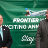 Colorado Springs Mayor John Suthers and Rick Zeni, Frontier Airlines chief information officer, laugh during a reveal of new new flights at Colorado Springs' airport on Monday, Sept. 18, 2017. The new flights will start in April for the spring season.<br /> <br /> (The Gazette, Nadav Soroker)