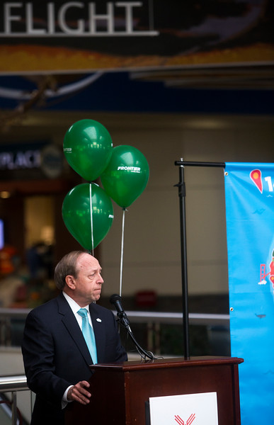 Colorado Springs Mayor John Suthers welcomes four new Frontier routes at Colorado Springs' airport on Monday, Sept. 18, 2017. The new flights will start in the spring to Minneapolis, San Antonio, San Jose and Seattle.<br /> <br /> (The Gazette, Nadav Soroker)