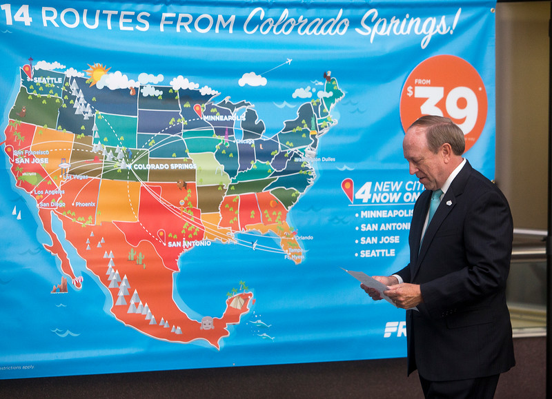 Frontier Airlines unveiled new flights at Colorado Springs' airport on Monday, Sept. 18, 2017. The new flights will go from COS to Minneapolis, San Antonio, San Jose and Seattle.<br /> <br /> (The Gazette, Nadav Soroker)