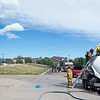 Colorado Springs and Fort Carson firefighters practice drilling into an overturned tanker at CSFD Headquarters in Colorado Springs, Colo. on Friday, Sept. 22, 2017. The practice was part of highway emergency response training involving hazardous materials.<br /> <br /> (The Gazette, Nadav Soroker)