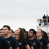 New Air Force enlistees look up as a plane takes off from the nearby Colorado Springs Airport while waiting for their enlistment ceremony at the Pikes Peak Regional Airshow on Saturday, Sept. 23, 2017. Their oath was administered by Lt. Col. Jason Heard, the commander of the Thunderbirds.<br /> (The Gazette, Nadav Soroker)