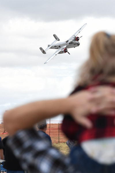 A B-25 flies by the crowd at the Pikes Peak Regional Airshow on Saturday, Sept. 23, 2017. Early demonstrations went off without a hitch before the rain started in the afternoon.<br /> (The Gazette, Nadav Soroker)