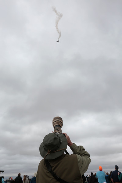 Larry Glass photographs Kyle Franklin in Dracula at the Pikes Peak Regional Airshow on Saturday, Sept. 23, 2017. Large cameras dotted the crowd as spectators snapped photos of the planes.<br /> (The Gazette, Nadav Soroker)