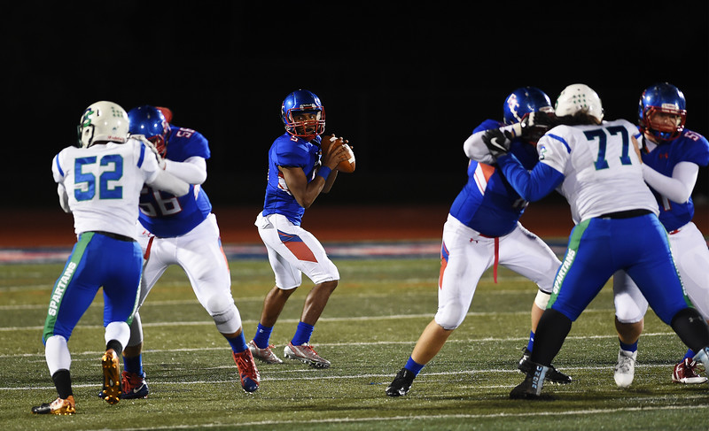Fountain-Fort Carson senior Eric Donnell prepares to throw the ball at Fountain-Fort Carson on Friday, Sept. 29, 2017. Donnell also made several long runs including some touchdowns.<br /> <br /> (The Gazette, Nadav Soroker)