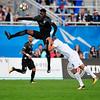 Switchback defender Pascal Eboussi leaps for the header at Wiedner Field on Saturday, Sept. 30, 2017.<br /> <br /> (The Gazette, Nadav Soroker)