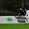 Colorado Springs Switchbacks Kevaughn Frater jumps for the Switchback's second goal against Orange County FC at Wiedner Field on Saturday, Sept. 30, 2017. The Switchbacks won 2-1.<br /> <br /> (The Gazette, Nadav Soroker)