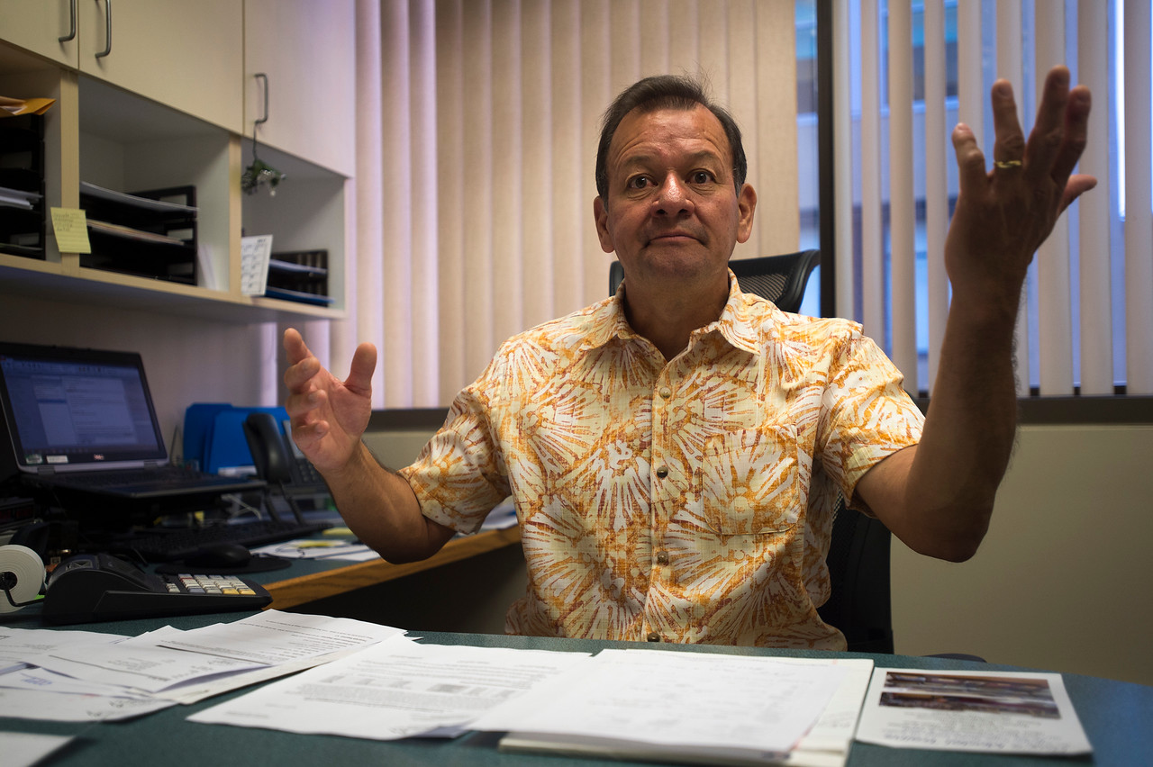 Danny Garrido talks about his eventual retirement and the need to stay busy in his office in Colorado Springs, Colo. on Monday, Sept. 18, 2017. Garrido works for the city of Colorado Springs as a sales tax investigator, as well as running the Crossing Church where he works many evenings.<br /> <br /> (The Gazette, Nadav Soroker)